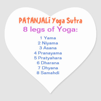 YOGA Checklist : 8 steps of PATANJALI SUTRA Heart Stickers