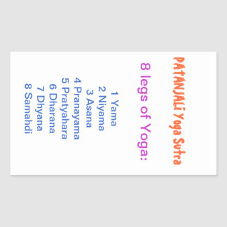 YOGA Checklist : 8 steps of PATANJALI SUTRA Rectangular Stickers