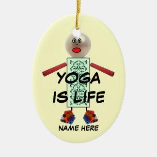 Yoga Christmas Cartoon Ceramic Oval Decoration