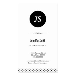 Yoga Coach - Clean Black White Pack Of Standard Business Cards