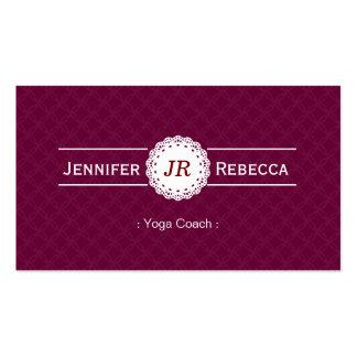 Yoga Coach - Modern Monogram Purple Pack Of Standard Business Cards
