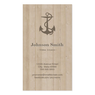 Yoga Coach - Nautical Anchor Wood Pack Of Standard Business Cards