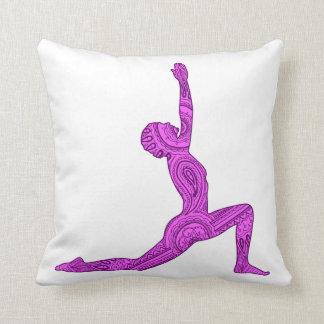 Yoga Crescent-Moon Mehndi Design Pillow