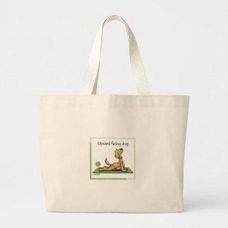 Yoga Dog - Upward Facing Dog Pose Canvas Bags
