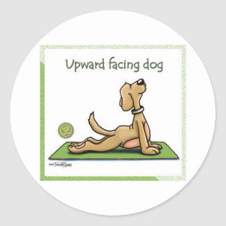 Yoga Dog - Upward Facing Dog Pose Round Sticker