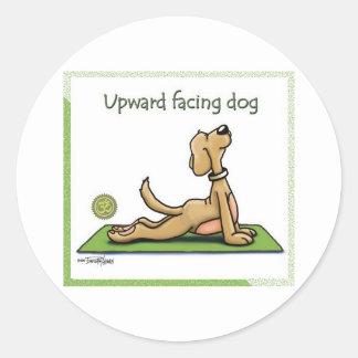 Yoga Dog - Upward Facing Dog Pose Round Sticker