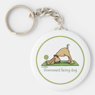 Yoga - Downward Facing Dog Basic Round Button Key Ring