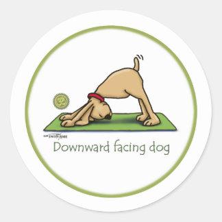 Yoga - Downward Facing Dog Classic Round Sticker