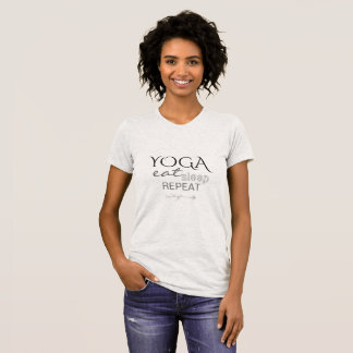 YOGA eat sleep repeat arrow funny ash grey leaves T-Shirt