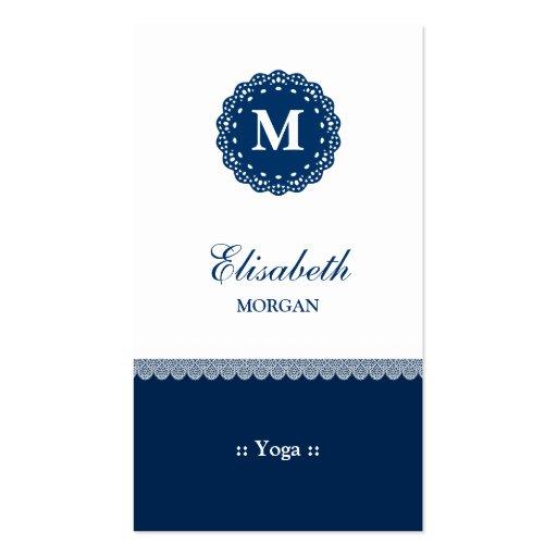 Yoga Elegant Blue Lace Monogram Business Card Templates