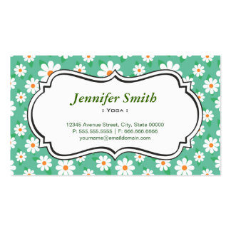 Yoga - Elegant Green Daisy Business Card Templates