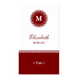 Yoga Elegant Red Lace Monogram Pack Of Standard Business Cards