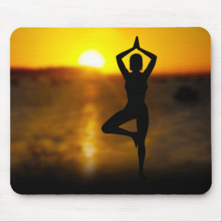 Yoga Female by the Ocean at Sunset Mouse Pad