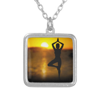 Yoga Female by the Ocean at Sunset Necklace