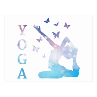 Yoga flowers and butterflies illustration postcard