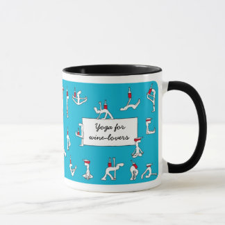 Yoga for Winelovers Blue Mug