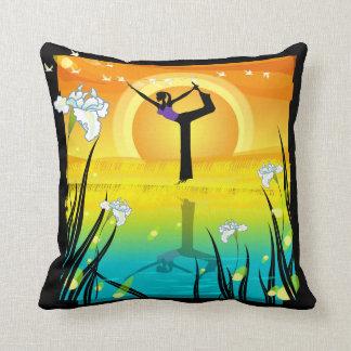 Yoga Girl at Pond American MoJo Pillow Cushions