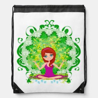 Yoga girl Drawstring Backpack