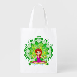 Yoga girl Reusable Grocery Bag