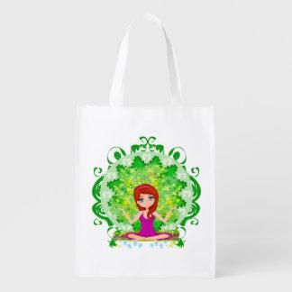 Yoga girl Reusable Grocery Bag