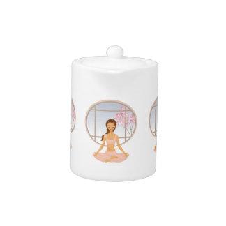 yoga girl teapot