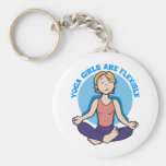 Yoga Girls Are Flexible Yoga Basic Round Button Key Ring