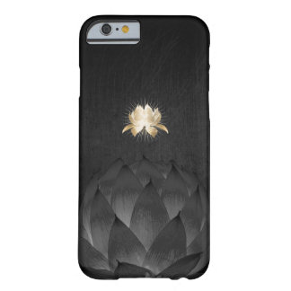 Yoga Gold Lotus Flower Elegant Black Floral Barely There iPhone 6 Case