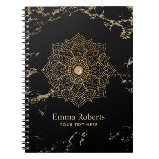Yoga Gold Lotus Mandala Vintage Black Gold Marble Notebook