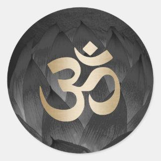 Yoga Gold Om Symbol Elegant Black Floral Round Sticker
