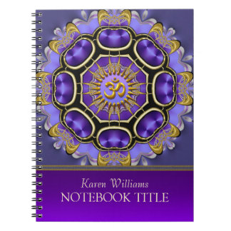 Yoga Golden Om Purple Fractal Mandala Notebook