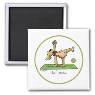 Yoga - Half Moon Square Magnet