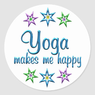 Yoga Happy Round Sticker