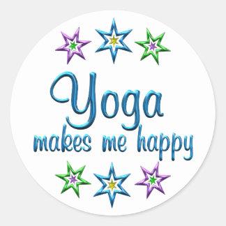 Yoga Happy Round Stickers