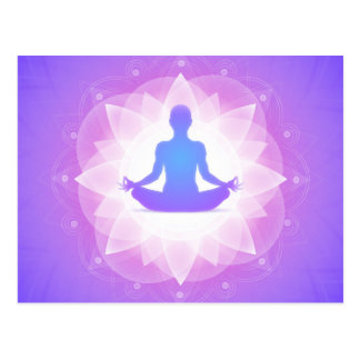 Yoga Harmony Purple Floral Art Illustration Postcard