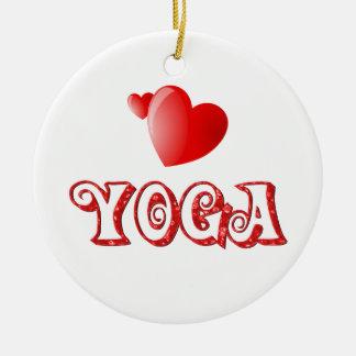 Yoga Hearts Round Ceramic Decoration