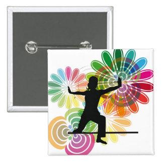 Yoga illustration 15 cm square badge