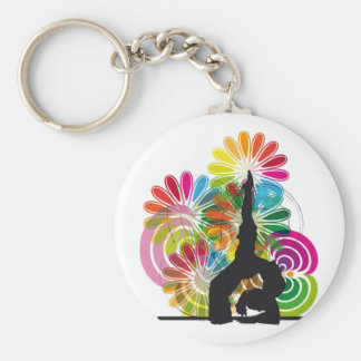 Yoga illustration basic round button key ring