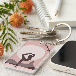 Yoga in Pink Double-Sided Rectangular Acrylic Key Ring
