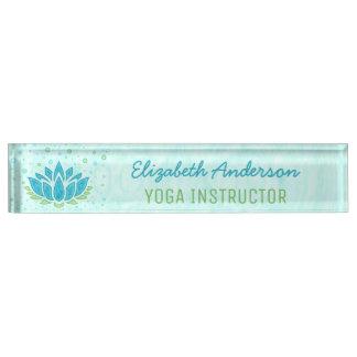 Yoga Instructor | Blue Lotus Flower Zen Meditation Desk Nameplate
