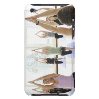 Yoga instructor leading class through the iPod touch cover