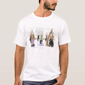Yoga instructor leading class through the T-Shirt