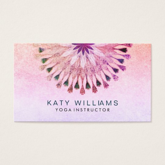 Yoga Instructor Lotus Flower Watercolor pink Business Card