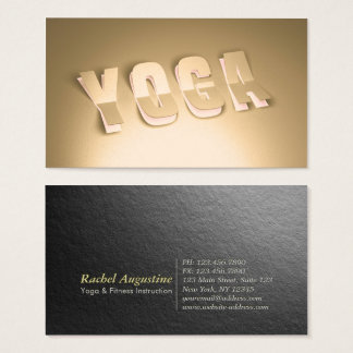 Yoga Instructor Modern Gold 3D Paper Cut Text Look Business Card