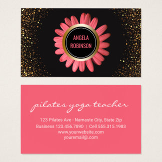 Yoga Instructor | Pink Daisy Gold Glitter Black Business Card