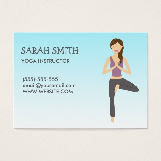 Yoga Instructor With Yoga Woman In Tree Pose Business Card