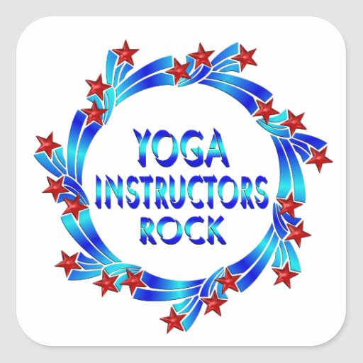Yoga Instructors Rock Red Stars Square Stickers