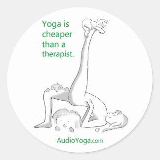 Yoga is Cheaper Than a Therapist Round Sticker