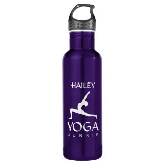 Yoga Junkie White Silhouette 24 Oz Water Bottle