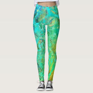 Yoga Leggings with Marbleized Universe Design