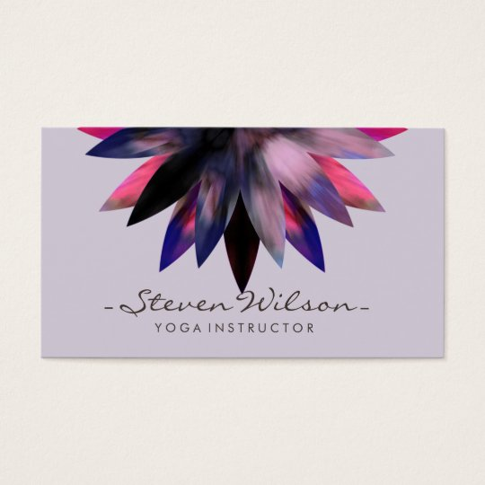 Yoga Lotus Flower Meditation Watercolor Business Card